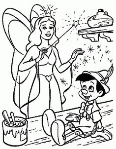 Pinocchio And Blue Fairy coloring picture for kids Fairy Coloring Pages, Disney Coloring Pages, Coloring Pages For Kids, Coloring Books, Pinocchio, Coloring Pictures For Kids, Faith Crafts, Disney Princess Quotes, Disney Cross Stitch Patterns