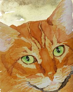 Orange Tabby Cat Print from Original Watercolor by wrensroost, $14.00
