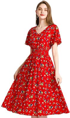 Gardenwed Floral Chiffon Dresses for Women Flowy Homecoming Cocktail Dress Casual Beach Sun Dress Red Little Flower Floral Chiffon Dress, Ruffle Dress, Chiffon Dresses, Short Sleeve Dresses, Dress Red, Casual Party Dresses, Dress Casual, Summer Dresses For Women, Ruffle Sleeve