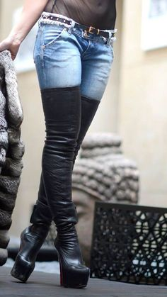 Thigh boots and jeans Louboutin High Heels, Thigh High Boots Heels, Wedge Boots, Sexy High Heels, Heeled Boots, Talons Sexy, High Leather Boots, Jimmy Choo, Julie