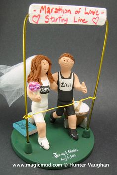 Matrimonial Marathon of Love Wedding Cake Topper http://www.magicmud.com    1 800 231 9814   magicmud@magicmud.com $235  https://twitter.com/caketoppers         https://www.facebook.com/PersonalizedWeddingCakeToppers   #propose#proposal#wedding #cake #toppers #custom #personalized #Groom #bride #anniversary #birthday#weddingcaketoppers#cake-toppers#figurine#gift#wedding-cake-toppers #marathon#runners#triathlon#joggers#jogging#race#finishLine#jog#run