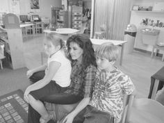 at home with her kids