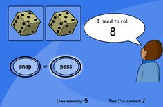 "A game of snap for matching numbers to the dice. Roll the dice and hit ""snap"" when the dice total matches the target. Hit ""pass"" if another roll is needed."