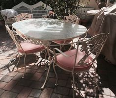 Fabulous, Vintage, 1950s Wrought Iron Patio Set. Included Is The Oval Table,