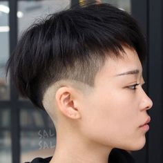 Choppy Bowl Cut With Undercut Asian Hair Undercut, Best Undercut Hairstyles, Shaved Undercut, Undercut Women, Undercut Pixie, Haircuts For Curly Hair, My Hairstyle, Curly Hair Styles, Shaved Hairstyles