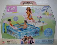 Happy Family - Splash 'N Slide Pool # Old Barbie Dolls, Barbie Sets, Baby Dolls, Barbie Happy Family, Barbie Playsets, Barbie Life, Barbie Accessories, Barbie Collection, Barbie Friends