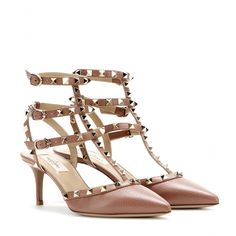 Valentino - Rockstud leather kitten-heel pumps - Valentino's 'Rockstud' pumps are equal parts elegant and edgy. In all-over leather, this gold-studded pair will work for day or evening - the low kitten-heel making them comfortable for 24-hour wear. seen @ www.mytheresa.com