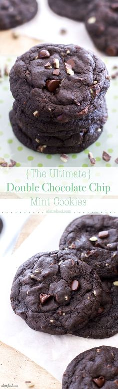 Thick, fudgy, and full of mint chips, these double chocolate mint cookies are a mint lover's dream! www.alattefood.com