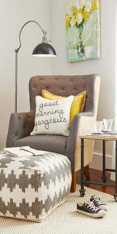The 6 items to create a reading nook you'll love: tufted chair, complimentary pillow, pouf, reading lamp, side table, and wall art! All these pieces are from @HomeGoods!