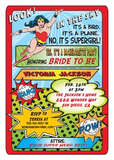 Superhero Comic Book Bachelorette or Bridal Shower by McBooboos