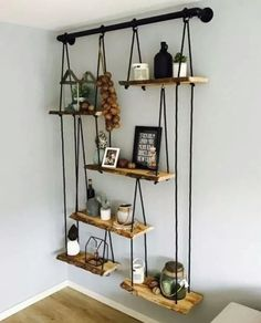 30 Cool DIY Furniture Hacks That Are So Creative - Hanging Shelves On a Galvanized Pipe. Hardest part was leveling each shelf and align them - Diy Furniture Hacks, Furniture Projects, Cool Furniture, Diy Projects, Barbie Furniture, Furniture Legs, Garden Furniture, Furniture Design, Kitchen Furniture