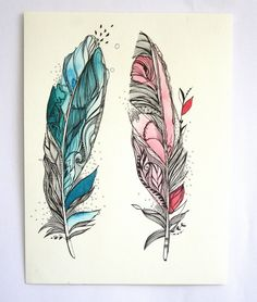 "You and Me Feathers. Frame it and place it on that desk, side table, book shelf or hang it. Dimensions: 12""x9"" Paper is 300gsm thick, acid free and archival. Ink I use is archival and acid-free as well. I use professional Water Colors for my artwork. It will be carefully packed in a protective sleeve, with a stiff cardboard and will be shipped flat. I have signed on the reverse side. Link back to my shop: http://www.etsy.com/shop/MyZenMode If you have any queries..."