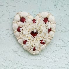 Shell Heart Seashells Red and White Coral by SandisShellscapes
