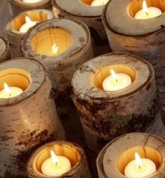 birch log candle holders, with the right drill this would be easier than making birch candles Terra Verde, Bougie Candle, Log Candle Holders, Votive Holder, Tree Trunks, Birch Bark, Birch Logs, Birch Trees, Diy Centerpieces