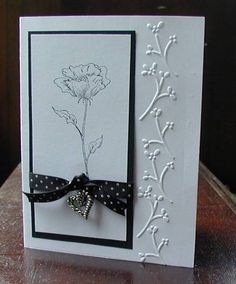 handmade card: Very plain bloomin' beautiful, cuttlebug card by JD from PAUSA  ... black and white ...