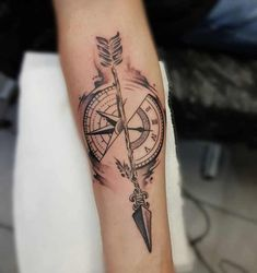 Search inspiration for a Geometric tattoo. Compass Tattoos Arm, Forearm Band Tattoos, Forarm Tattoos, Compass Tattoo Design, Wrist Tattoos For Guys, Time Tattoos, Arrow Tattoos, New Tattoos, Hammer Tattoo
