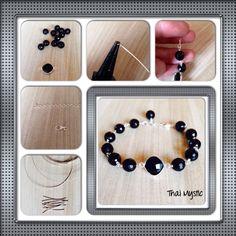 DIY hermosa pulsera en ónix negro y plata 925  bracelet in onix and sterling silver handmade. Beautiful