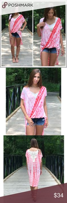 High Low Tie Dye Blouse Pink High low tie dye blouse featuring a cross cross front and crochet lace detailing in the back. Pair with a bralette and shorts Tops Blouses