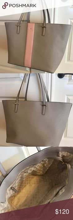 Kate Spade Harmony medium tote handbag Kate Spade Harmony medium tote with zipper. Clock tower color with pink racing stripe and gold hardware and protective feet. 11h x 13w x 6d (measured on bottom part of bag). Comes with dust bag. Wonderful condition! kate spade Bags Totes