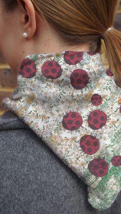 Ladybird in the Garden Silk Neckerchief, small scarf with floral pattern Small Scarf, Neckerchiefs, Silk Satin, Summer Days, Garden, Floral, Pattern, Prints, Collection