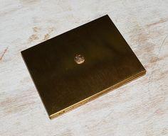 Vintage Brushed Gold Tone Cigarette Compact Case Raised Shield Emblem Decoration | eBay