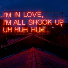 Artists Victoria Lucas and Richard William Wheater installed neon signs of lyrics from famous love songs on the roof every month for a year.