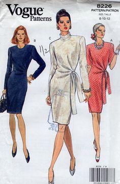 Free Us Ship Sewing Pattern Vogue 8226 Retro 1990s 90's Side Drape Tied Belt Dress  Size 8 10 12 Bust 31.5 32.5 34 Uncut by LanetzLiving on Etsy