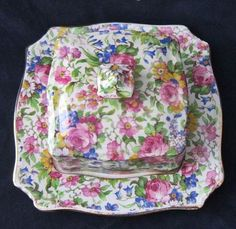 Royal Winton Grimwades Summertime Sq Butter Cheese Chintz Covered Dish Lid   eBay