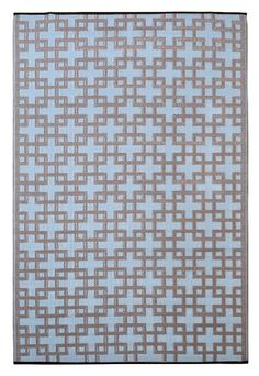 Fab Habitat 6-Feet by 9-Feet Rheinsberg Indoor/Outdoor Rug, Powder Blue and Warm Taupe by Fab Habitat - Fab Rug. $110.00. Reversible: change the look of your decor. Washable: just shake or hose off for easy cleaning. Actual colors may vary from the image(s) shown due to manufacturing limitations. Suitable for indoor and outdoor uses; Lightweight: comes with jute bag. Woven from straws made up of recycled plastic. The Rheinsberg rug will turn heads with its Chino...