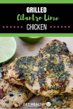 The delicious gluten free grilled cilantro lime chicken recipe is like chimichurri meets pesto, and makes an amazing marinade and sauce!