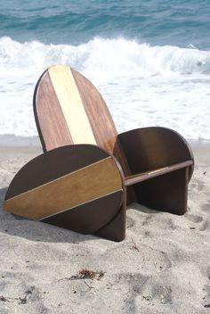 Nautical Kids Surfboard chair in brown.