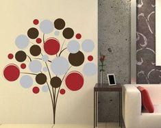Poppy Tree Vinyl Wall Decal Sticker - Poppy Bunch - Circles - Round - Bubbles - Modern Decal - Tree Vinyl Wall Decal ArtETS50097