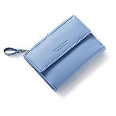 a7c25c392 Latest Women Leather Zipper Wallet Fashion Lady Portable Multifunction  Short Solid Color Change Purse Hot Female