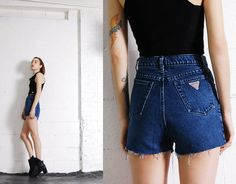 Vintage 90s GUESS JEANS Cut-Offs Denim Trashy Hipster Short Shorts on Etsy, $52.00