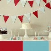 bunting and dessert table in red and blue