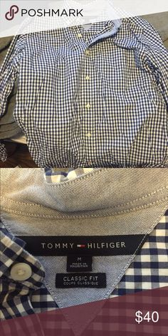 Long sleeve button up Tommy Hilfiger Checkered Navy blue and white Tommy Hilfiger Shirts Casual Button Down Shirts