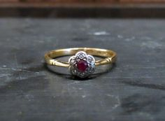 Vintage Engagement Ring Edwardian Ruby and Diamond by BavierBrook