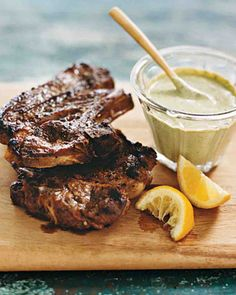 Grilled Lamb Shoulder Chops with Herb Aioli