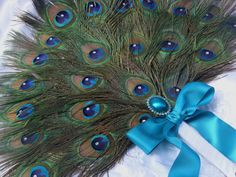 Three Layer Crystal Peacock Feather Bridal Fan in your by Ivyndell, $140.00