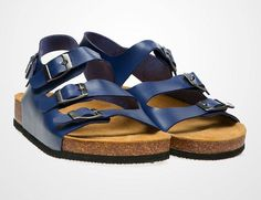 Julio 3 Straps Sandals by Prisky. Three straps sandal with buckle to secure. It has an ankle strap at back. Blue straps sandals and brown sole make this shoes look so eye catchy, perfect for casual style, and pair this sandals with mini flair dress or short pants. http://www.zocko.com/z/JH0Jw