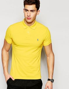 Polo+Ralph+Lauren+Polo+Shirt+With+Logo+In+Yellow+Slim+Fit
