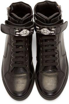 d2d92c91c5ae61 Versace Black Lizard High-Top Sneakers Baskets Hautes, Accessoires Pour  Hommes, Chaussures Des