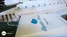 Bolsas para Algodón Moda, papel blanco con serigrafía a un color