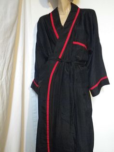 Christian Doir Men s Black Silk Robe Vintage 80s NWOT by BrickCity 6efc950b1