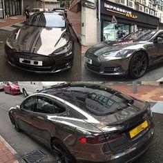 black chrome vinyl car wrap Tesla S - Google Search