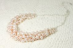Light Pink Pearl Beads Silver Framed Necklace with Silver Chain ./  Wedding , Bridesmaid Necklace .