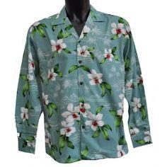 Chemise hawaïenne Hawaï hawaii chemise vert fleurs séries Blanc