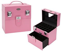 Seya Compact Nail Polish Travel Case with Mirror and Drawer Pink ** For more information, visit image link.Note:It is affiliate link to Amazon.