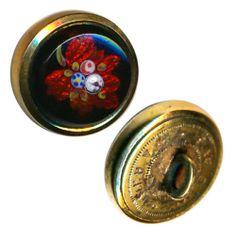 Button Late 1800s Deluxe Paris Back Foil Enameled Black Glass Waistcoat Jewel | eBay