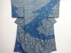 リサイクル 作家物 本場琉球藍型手織り真綿紬流水に草花・帆船模様訪問着